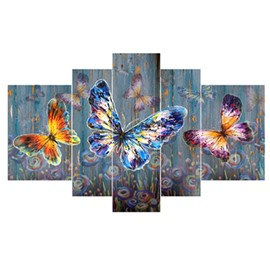 Colorful Butterflies Pattern Hanging 5-Piece Canvas Eco-friendly and Waterproof Non-framed Prints
