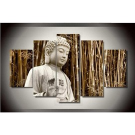 Buddha Sitting in Bamboo Forest Pattern Hanging 5-Piece Canvas Eco-friendly Waterproof Non-framed Prints
