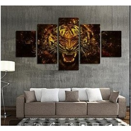 Ferocious Tiger Pattern Hanging 5-Piece Canvas Eco-friendly and Waterproof Non-framed Prints