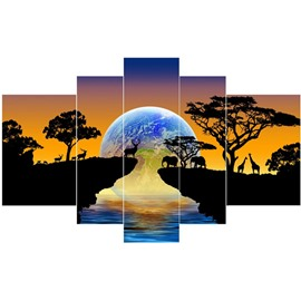 Cliffs Trees and Planet Pattern Hanging 5-Piece Canvas Eco-friendly and Waterproof Non-framed Prints