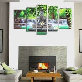 Buddha beside Forest and Waterfall Hanging 5-Piece Canvas Eco-friendly and Waterproof Non-framed Prints