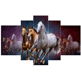 Hanging Running Horses Pattern 5-Piece Canvas Eco-friendly and Waterproof Non-framed Prints