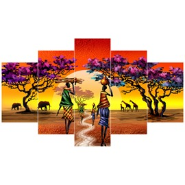 Farmers in Field Pattern Hanging 5-Piece Canvas Eco-friendly and Waterproof Non-framed Prints