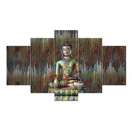 Bronze Buddha Pattern Hanging 5-Piece Canvas Eco-friendly and Waterproof Non-framed Prints