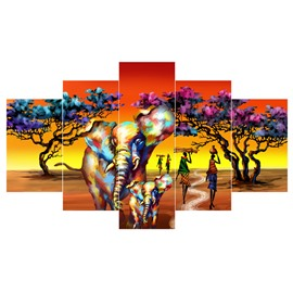 Elephants Girls and Trees Pattern Hanging 5-Piece Canvas Eco-friendly and Waterproof Non-framed Prints