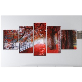 Red Leaves Pattern Hanging 5-Piece Canvas Eco-friendly and Waterproof Non-framed Prints