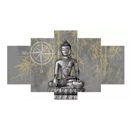 Silver Buddha Pattern Hanging 5-Piece Canvas Eco-friendly and Waterproof Non-framed Prints