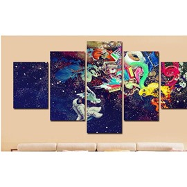 Astronaut in Space Pattern Hanging 5-Piece Canvas Eco-friendly and Waterproof Non-framed Prints