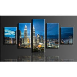 City in Blue Sky Hanging 5-Piece Canvas Eco-friendly and Waterproof Non-framed Prints