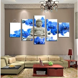 Buddha and Blue Flowers Pattern Hanging 5-Piece Canvas Eco-friendly and Waterproof Non-framed Prints