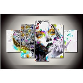 Girl Head Hanging 5-Piece Canvas Eco-friendly and Waterproof Non-framed Prints