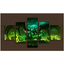 Green Monsters Pattern Hanging 5-Piece Canvas Eco-friendly and Waterproof Non-framed Prints