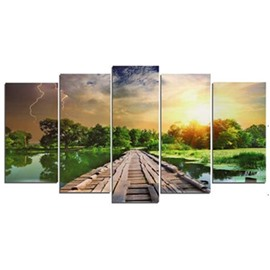 Green Forest River and Wooden Path Hanging 5-Piece Canvas Eco-friendly Waterproof Non-framed Prints