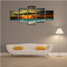 Sea in Dusk Pattern Hanging 5-Piece Canvas Eco-friendly and Waterproof Non-framed Prints