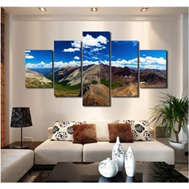 Mountains in Blue Sky Hanging 5-Piece Canvas Eco-friendly and Waterproof Non-framed Prints