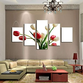 Tulips Pattern Hanging 5-Piece Canvas Eco-friendly and Waterproof White Non-framed Prints
