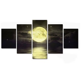 Moon above Sea Hanging 5-Piece Canvas Eco-friendly and Waterproof Non-framed Prints