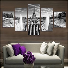 White and Black Tower Pattern Hanging 5-Piece Canvas Eco-friendly and Waterproof Non-framed Prints