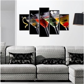 Cocktail in Cups Hanging 5-Piece Canvas Eco-friendly and Waterproof Non-framed Prints