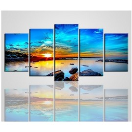 Sunrise and Sea Hanging 5-Piece Canvas Eco-friendly and Waterproof Non-framed Prints