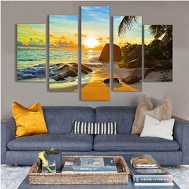 Beach in Sunrise Hanging 5-Piece Canvas Eco-friendly and Waterproof Non-framed Prints