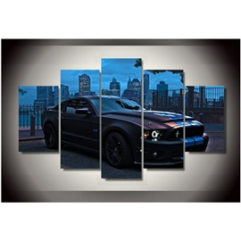 Black Car in Blue Night Hanging 5-Piece Canvas Eco-friendly and Waterproof Non-framed Prints