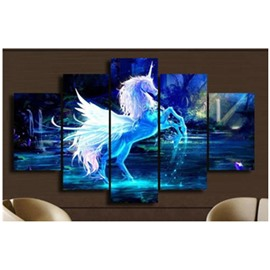 Blue Unicorn in River Hanging 5-Piece Canvas Eco-friendly and Waterproof Non-framed Prints