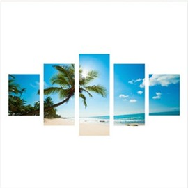 Palm on Beach Hanging 5-Piece Canvas Eco-friendly and Waterproof Non-framed Prints