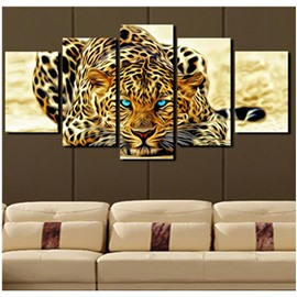 Leopard with Blue Eyes Hanging 5-Piece Canvas Eco-friendly and Waterproof Non-framed Prints