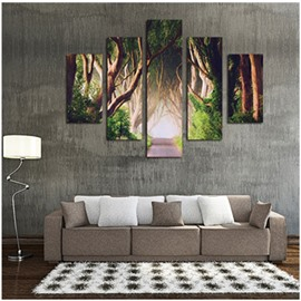 Ancient Forest Printed Hanging 5-Piece Canvas Eco-friendly and Waterproof Non-framed Prints