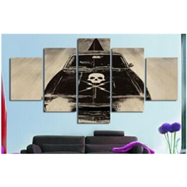 Black Car Printed Hanging 5-Piece Canvas Eco-friendly and Waterproof Non-framed Prints
