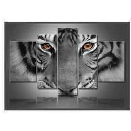 Tiger Head Printed Hanging 5-Piece Canvas Eco-friendly and Waterproof Non-framed Prints