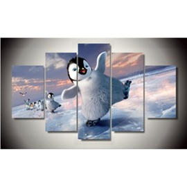 Swaggering Penguins Hanging 5-Piece Canvas Eco-friendly and Waterproof Non-framed Prints