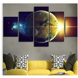 Earth and Shine Printed Hanging 5-Piece Canvas Eco-friendly and Waterproof Non-framed Prints