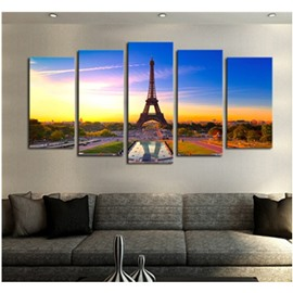 Tower in Sunset Printed Hanging 5-Piece Canvas Eco-friendly and Waterproof Non-framed Prints