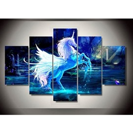 Blue Unicorn Printed Hanging 5-Piece Canvas Eco-friendly and Waterproof Non-framed Prints