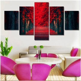 Red Path on Both Sides of Trees Hanging 5-Piece Canvas Waterproof Non-framed Prints