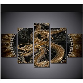 Dragon Printed Hanging 5-Piece Canvas Eco-friendly and Waterproof Non-framed Prints