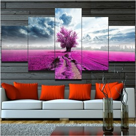 Pink Flowers Field Hanging 5-Piece Canvas Eco-friendly and Waterproof Non-framed Prints