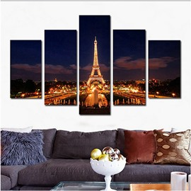 Golden Eiffel Tower Hanging 5-Piece Canvas Eco-friendly and Waterproof Non-framed Prints