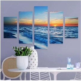 Waving Sea in Sunset Printed Hanging 5-Piece Canvas Eco-friendly and Waterproof Non-framed Prints