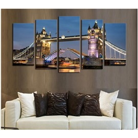 Bridge Tower at Night Hanging 5-Piece Canvas Eco-friendly and Waterproof Non-framed Prints