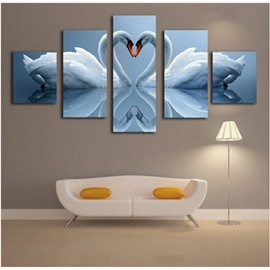 A Couple of White Swans Hanging 5-Piece Canvas Eco-friendly and Waterproof Non-framed Prints