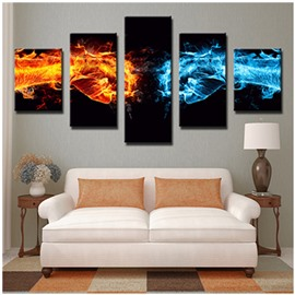 Blue and Yellow Fists with Fire Hanging 5-Piece Canvas Eco-friendly Waterproof Non-framed Prints