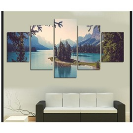 Mountains Surrounding Lake and Trees Hanging 5-Piece Canvas Eco-friendly and Waterproof Non-framed Prints