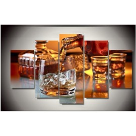 Wine and Cups Hanging 5-Piece Canvas Eco-friendly and Waterproof Non-framed Prints
