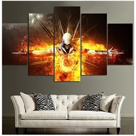 Warrior in Fire Printed Hanging 5-Piece Canvas Eco-friendly and Waterproof Non-framed Prints