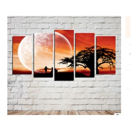 Tree in Orange After-light Printed Hanging 5-Piece Canvas Eco-friendly and Waterproof Non-framed Prints