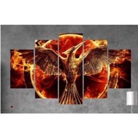 Fire Planet and Eagle Pattern Hanging 5-Piece Canvas Eco-friendly and Waterproof Non-framed Prints