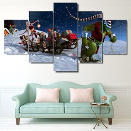 Christmas Gifts Printed Hanging 5-Piece Canvas Eco-friendly and Waterproof Non-framed Prints